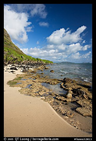 Beach and rocks near Makai research pier,  early morning. Oahu island, Hawaii, USA (color)