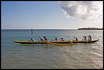 Outrigger canoe, Maunalua Bay, late afternoon. Oahu island, Hawaii, USA