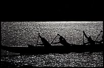 Backlit hawaiian canoe paddlers, Maunalua Bay, late afternoon. Oahu island, Hawaii, USA (color)