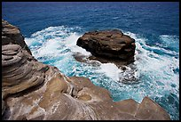 Layered rocks, Portlock. Oahu island, Hawaii, USA ( color)