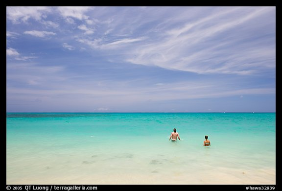 Bathers in the water, Waimanalo Beach. Oahu island, Hawaii, USA (color)