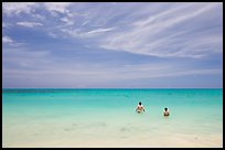 Bathers in the water, Waimanalo Beach. Oahu island, Hawaii, USA
