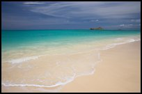 Waimanalo Beach and ocean with turquoise waters and off-shore island. Oahu island, Hawaii, USA (color)