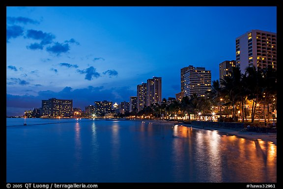 Waterfront and high-rise hotels at dusk. Waikiki, Honolulu, Oahu island, Hawaii, USA (color)