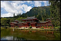 Byodo-In temple and Koolau Mountains, morning. Oahu island, Hawaii, USA ( color)