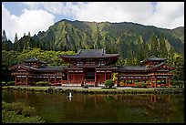 Byodo-In temple and fluted mountains, morning. Oahu island, Hawaii, USA (color)