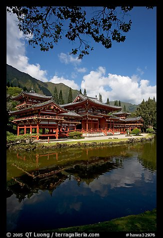 Byodo-In temple reflected in pond, Valley of the Temples, morning. Oahu island, Hawaii, USA (color)