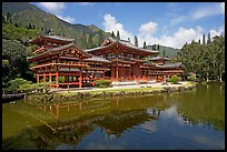 Byodo-In temple reflected in pond, morning. Oahu island, Hawaii, USA (color)