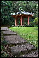 Fishing Hut Pavilion, Byodo-In temple. Oahu island, Hawaii, USA ( color)