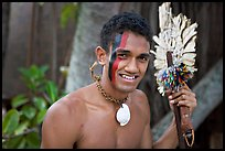 Fiji man with traditional face painting. Polynesian Cultural Center, Oahu island, Hawaii, USA ( color)
