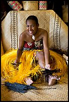 Fiji woman. Polynesian Cultural Center, Oahu island, Hawaii, USA (color)