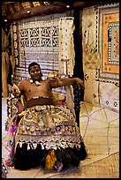 Fiji tribal chief inside vale levu (chief) house. Polynesian Cultural Center, Oahu island, Hawaii, USA ( color)