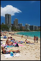 Waikiki Beach and skyline, mid-day. Waikiki, Honolulu, Oahu island, Hawaii, USA