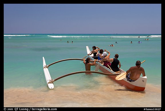 Outrigger canoe lauching from Waikiki Beach. Waikiki, Honolulu, Oahu island, Hawaii, USA