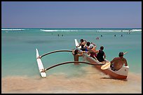 Outrigger canoe lauching from Waikiki Beach. Waikiki, Honolulu, Oahu island, Hawaii, USA (color)