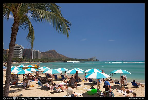 Sun shades on Waikiki Beach. Waikiki, Honolulu, Oahu island, Hawaii, USA (color)