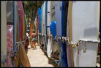 Racks of surfboards. Waikiki, Honolulu, Oahu island, Hawaii, USA