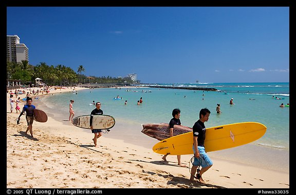 Men walking on Waikiki Beach with surfboards. Waikiki, Honolulu, Oahu island, Hawaii, USA