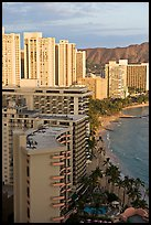 High rise hotels and beach seen from the Sheraton glass elevator, late afternoon. Waikiki, Honolulu, Oahu island, Hawaii, USA
