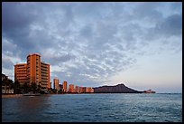 Skyline and Diamond Head, sunset. Waikiki, Honolulu, Oahu island, Hawaii, USA (color)