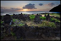 Heiau at sunrise near Makapuu Beach. Oahu island, Hawaii, USA (color)