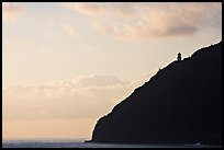 Makapuu head lighthouse, sunrise. Oahu island, Hawaii, USA (color)