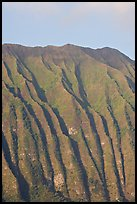 Fluted mountains, Koolau range, early morning. Oahu island, Hawaii, USA