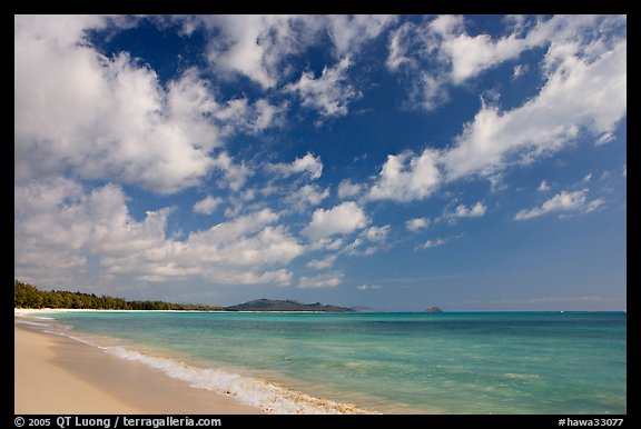 Waimanalo Beach and ocean with turquoise waters and clouds. Oahu island, Hawaii, USA (color)