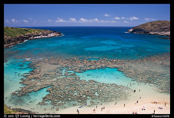 Hanauma Bay with people in water. Oahu island, Hawaii, USA