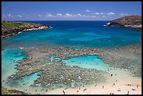 Hanauma Bay with people in water. Oahu island, Hawaii, USA (color)