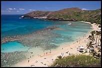 Hanauma Bay and beach with people. Oahu island, Hawaii, USA (color)