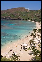 Hanauma Bay beach with people. Oahu island, Hawaii, USA