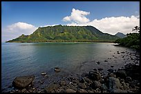 Kahana Bay, afternoon. Oahu island, Hawaii, USA ( color)