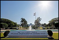 Mormon temple and sun, afternoon, Laie. Oahu island, Hawaii, USA ( color)