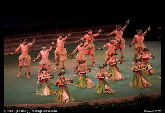 Hawaiian dancers on stage. Polynesian Cultural Center, Oahu island, Hawaii, USA