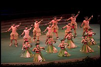Hawaiian dancers on stage. Polynesian Cultural Center, Oahu island, Hawaii, USA (color)