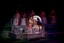Tonga drummers on stage. Polynesian Cultural Center, Oahu island, Hawaii, USA ( color)