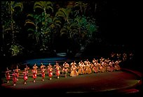 Tonga dancers on stage. Polynesian Cultural Center, Oahu island, Hawaii, USA (color)
