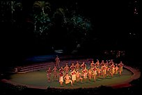Maori dancers. Polynesian Cultural Center, Oahu island, Hawaii, USA (color)