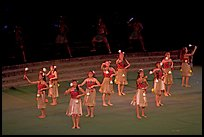 Dance Performance by Maori women. Polynesian Cultural Center, Oahu island, Hawaii, USA (color)