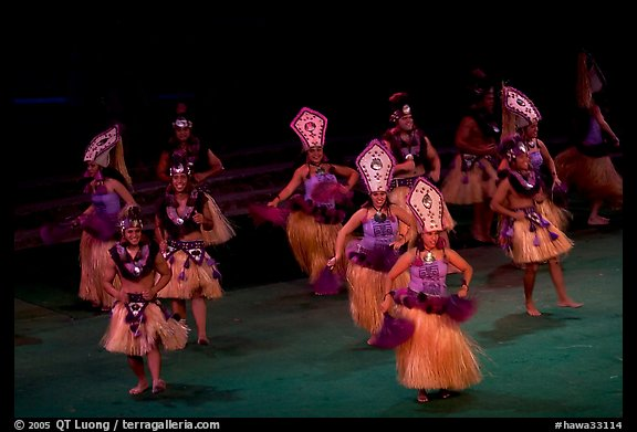 Tahitian celebration dance. Polynesian Cultural Center, Oahu island, Hawaii, USA (color)