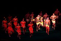 Samoa islanders performing a slap dance. Polynesian Cultural Center, Oahu island, Hawaii, USA (color)