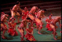 Dance performed by Samoa islanders. Polynesian Cultural Center, Oahu island, Hawaii, USA (color)