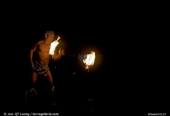 Traditional Samoan fireknife dance. Polynesian Cultural Center, Oahu island, Hawaii, USA