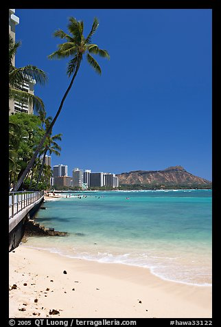 Beach and waterfront promenade. Waikiki, Honolulu, Oahu island, Hawaii, USA