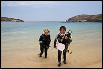 Scuba divers walking out of the water, Hanauma Bay. Oahu island, Hawaii, USA