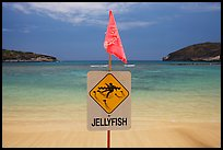 Sign warning against jellyfish,  Hanauma Bay. Oahu island, Hawaii, USA ( color)