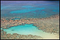 Reefs and sandy pools of  Hanauma Bay. Oahu island, Hawaii, USA