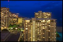 High-rise hotels at dusk. Waikiki, Honolulu, Oahu island, Hawaii, USA (color)