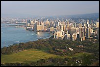 Honolulu seen from the Diamond Head crater, early morning. Waikiki, Honolulu, Oahu island, Hawaii, USA